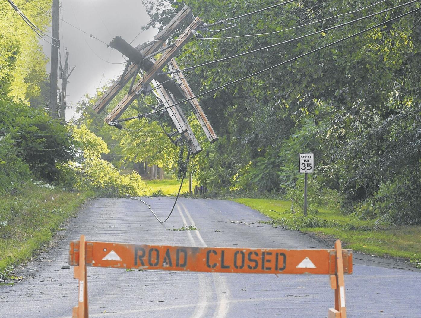 Dangling utility pole in East Windsor