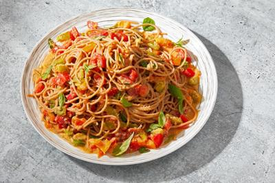 Summer Tomato and Basil Pasta with Pine Nut Sauce