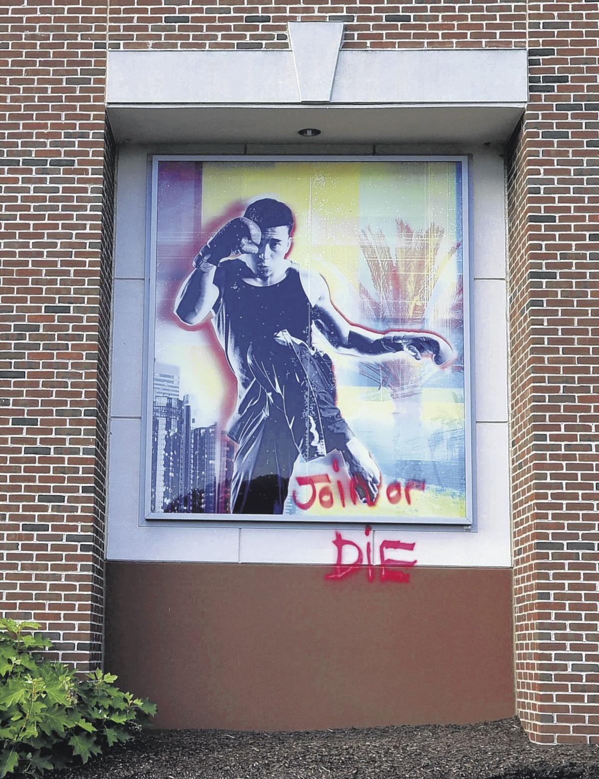 vulgar images spray painted on la fitness building in sw south