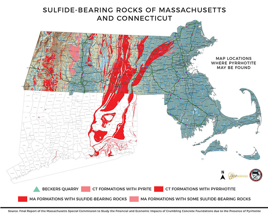 Sulfide-bearing rocks of Massachusetts