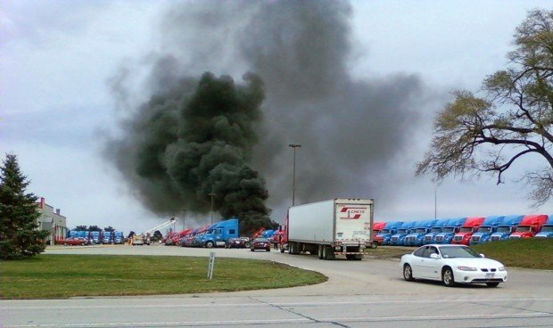 Fire Damages 9 Trucks At Crete Carriers Local