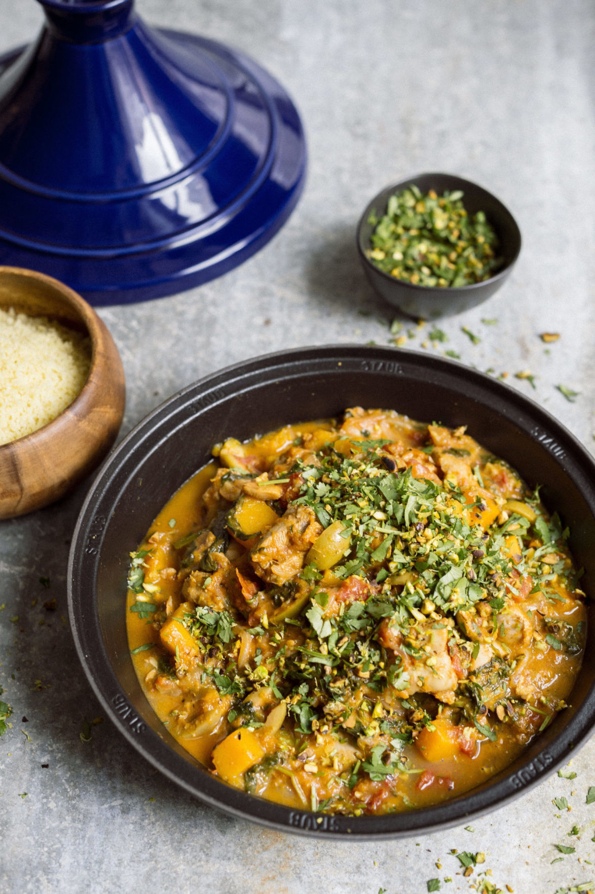 Chicken Tagine with Apricots, Butternut Squash and Spinach