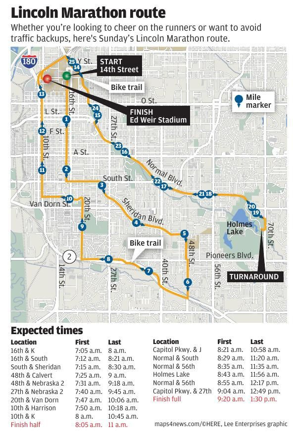 Lincoln Marathon map