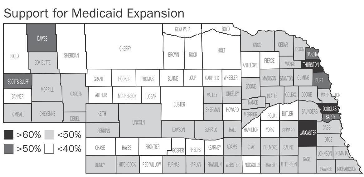 Medicaid Expansion vote by county