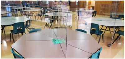 Plexiglas barriers on lunch tables
