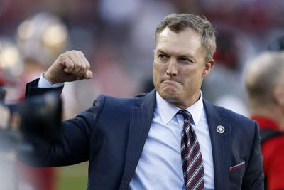 San Francisco 49ers general manager John Lynch celebrates in the final moments of the NFC Divisional Round Playoff victory against the Minnesota Vikings at Levi's Stadium on January 11, 2020, in Santa Clara, Calif.