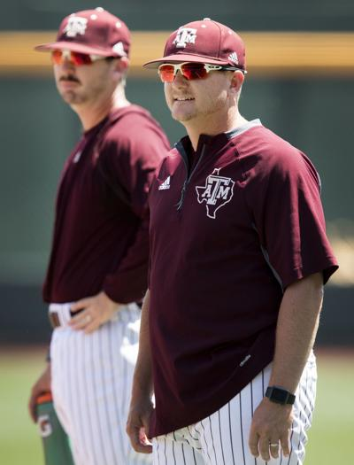 new style 60b03 01ba5 Former Nebraska baseball players and current Texas A M assistant coaches  Justin Seely (left) and Will Bolt watch from the infield as the Aggies  practice at ...