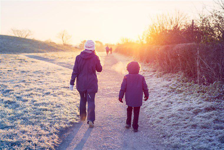 Winter walking in the sun