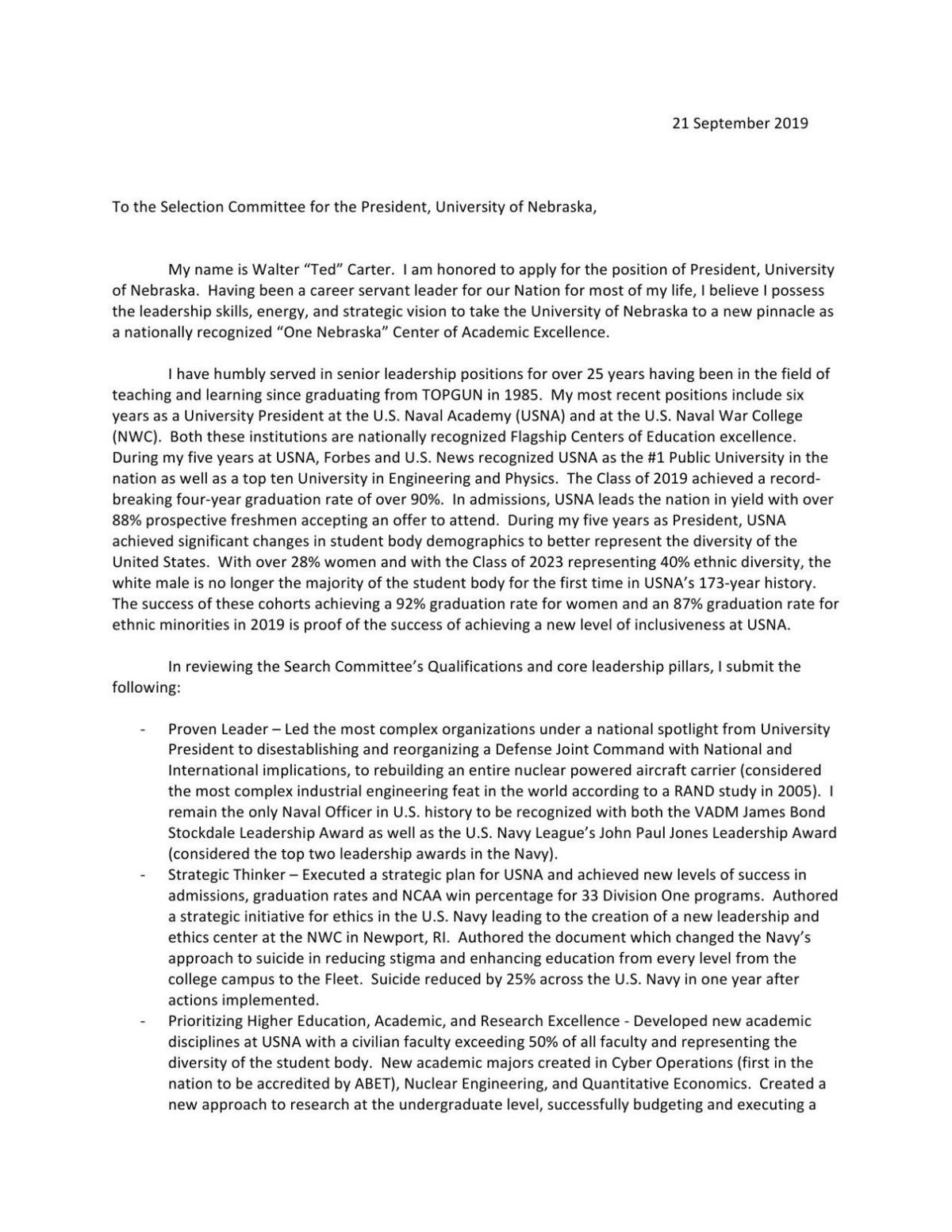 PDF: Read Ted Carter's letter of application