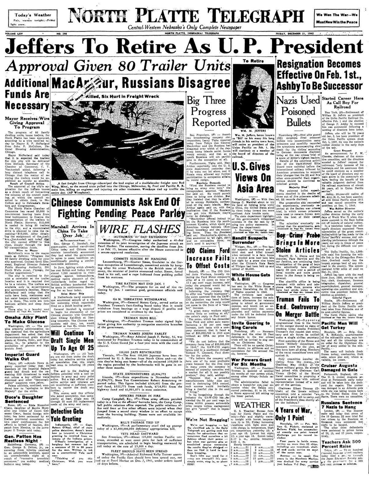 Telegraph front page Dec. 21, 1945