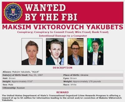 Wanted poster: Maksim V. Yakubets