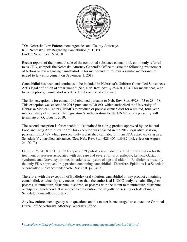 CBD memorandum from Attorney General Doug Peterson