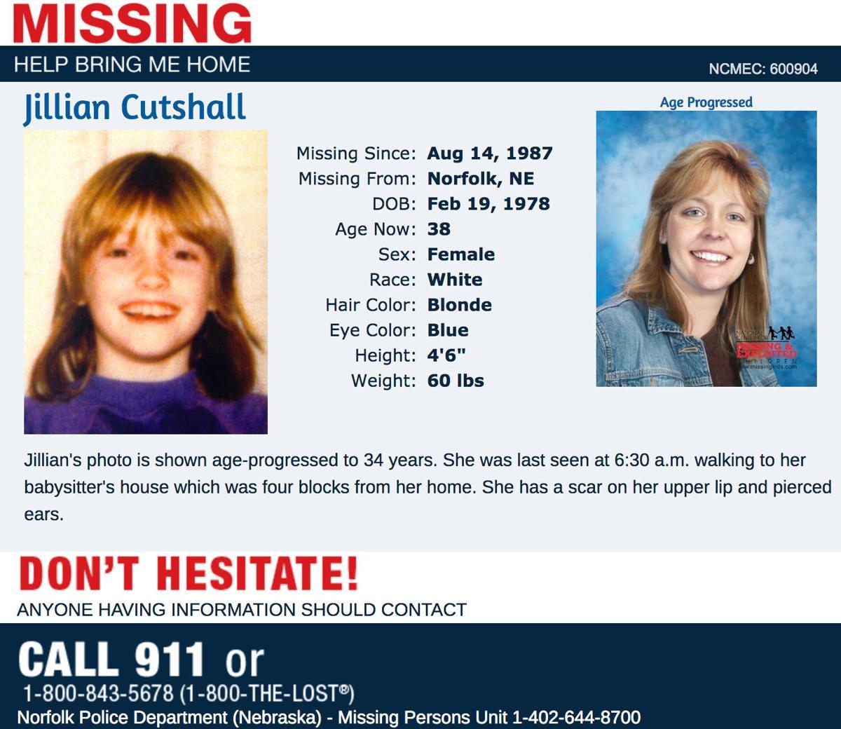 Jill Cutshall missing poster