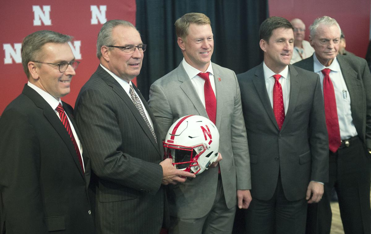 Ronnie Green, Bill Moos, Scott Frost, Hank Bounds and Tom Osborne