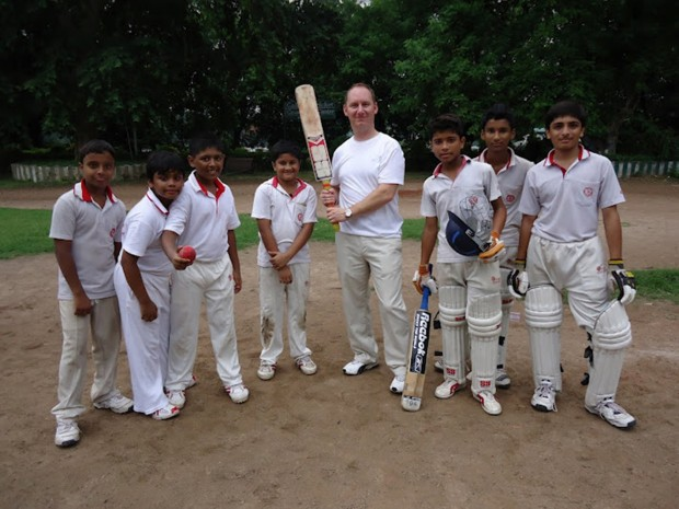 Brian Burback with cricket team in India