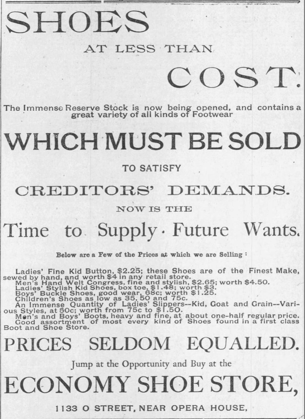Sept. 23, 1888, advertisement for Economy Shoe Store in downtown Lincoln