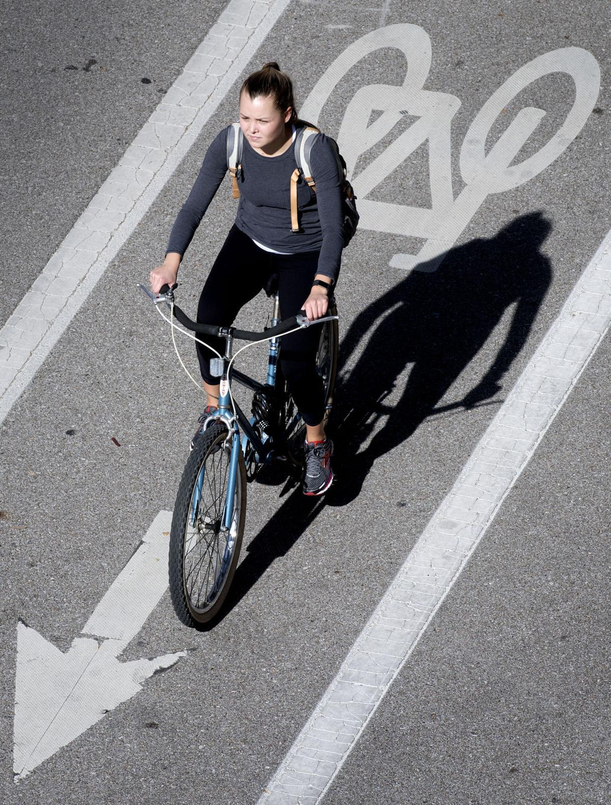 Bicyclist on bike lane