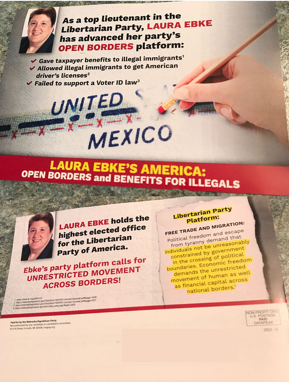 Laura Ebke for Legislature (oppose)
