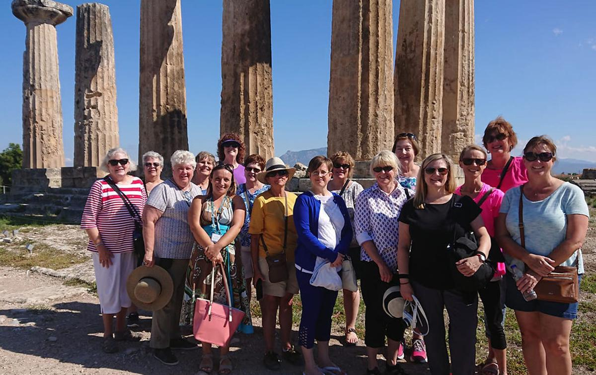 Women of Nebraska in front of the Temple of Apollo in ancient Corinth
