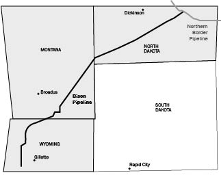 Bison Pipeline route