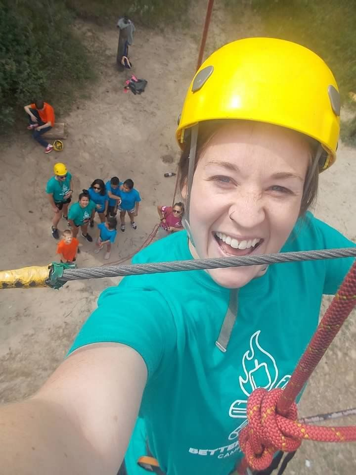 Getting ready to zipline at Camp Catch-Up