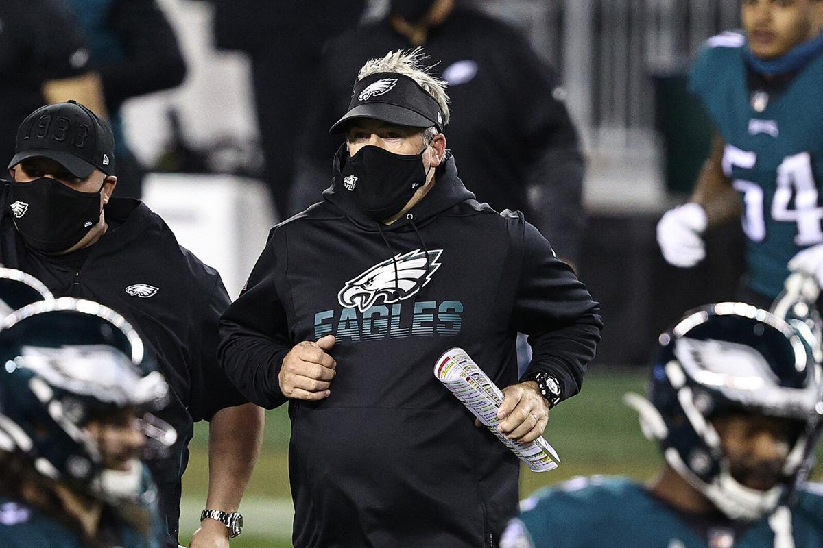 Philadelphia Eagles head coach Doug Pederson leaves the field following a 23-17 loss against the Seattle Seahawks at Lincoln Financial Field in Philadelphia on November 30, 2020.