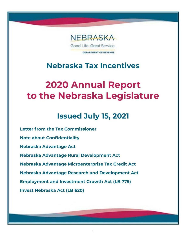 Nebraska tax incentives annual report
