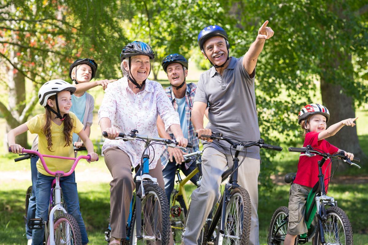 Multi-generational family biking