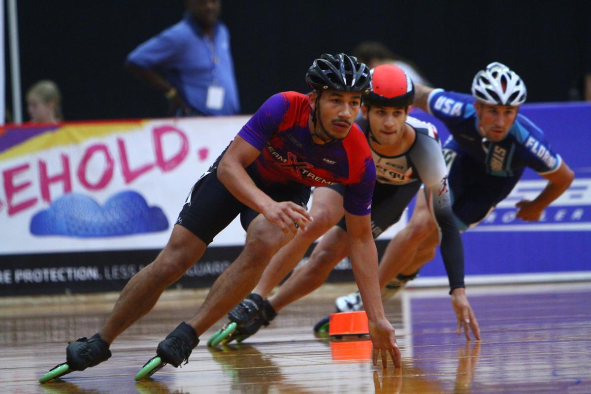 Donavon Sellers leads in speed skating