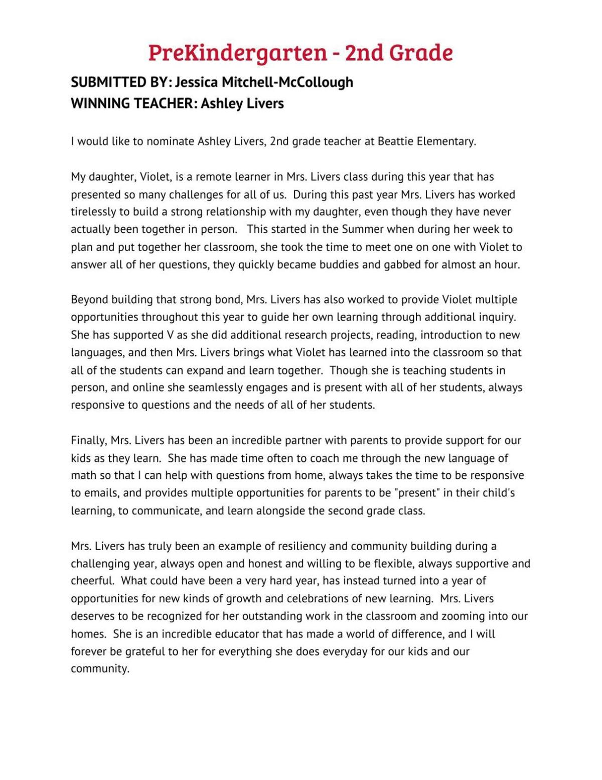 Ashley Livers/preK-2nd teacher letter