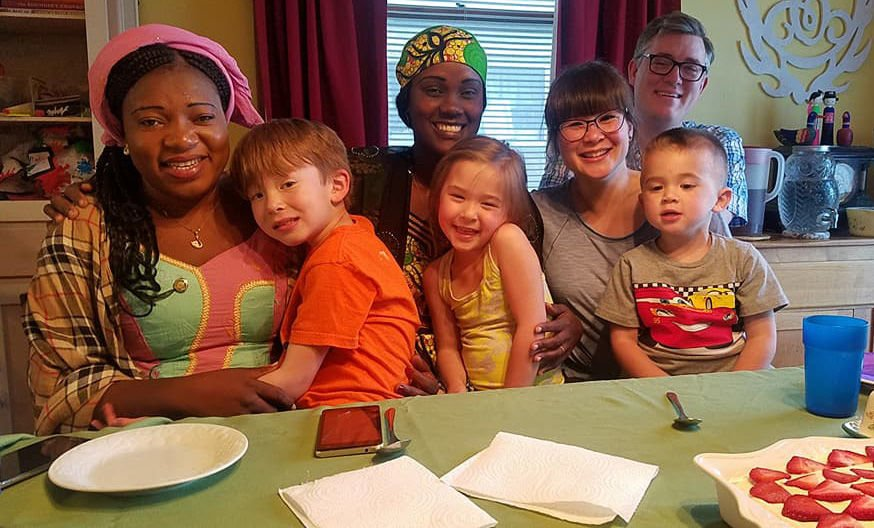 Clark Family dinner with visitors from Cameroon