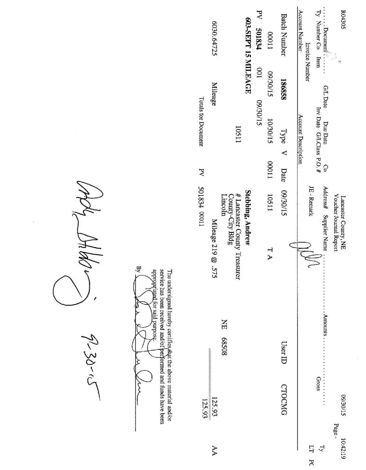 Andy Stebbing's reimbursement claims