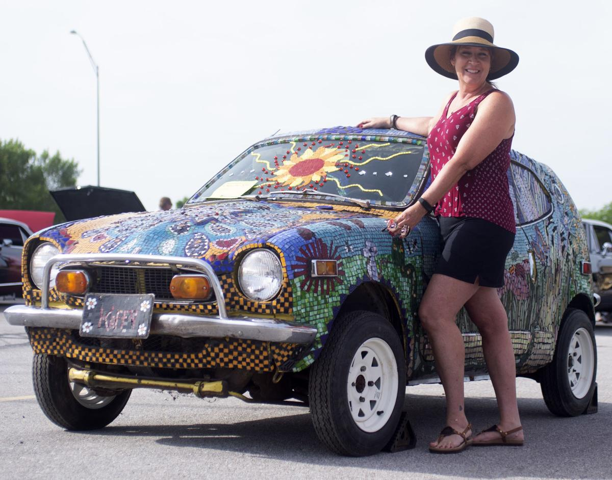 Denton woman showcases her mosaic car art at Father's Day