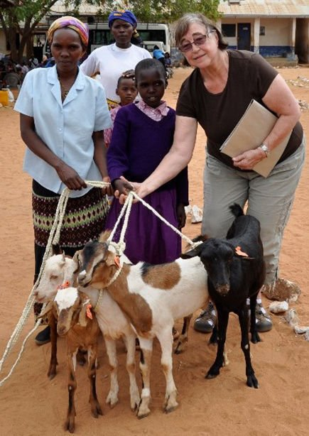 Kay Rockwell gives goats in Kenya