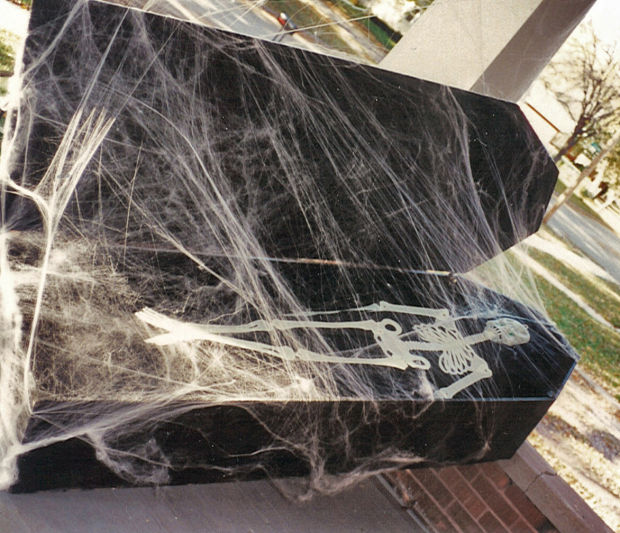 Thieves steal homemade coffin, skeleton