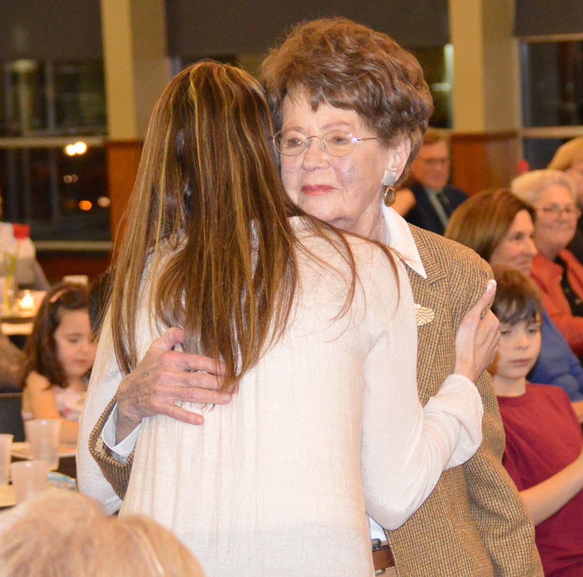 Joline Weart gets a hug from Jennifer Weart