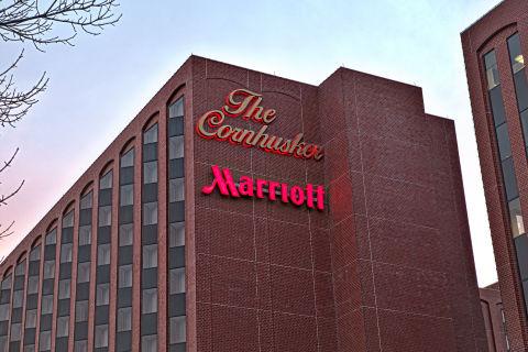 Cornhusker with new Marriott sign