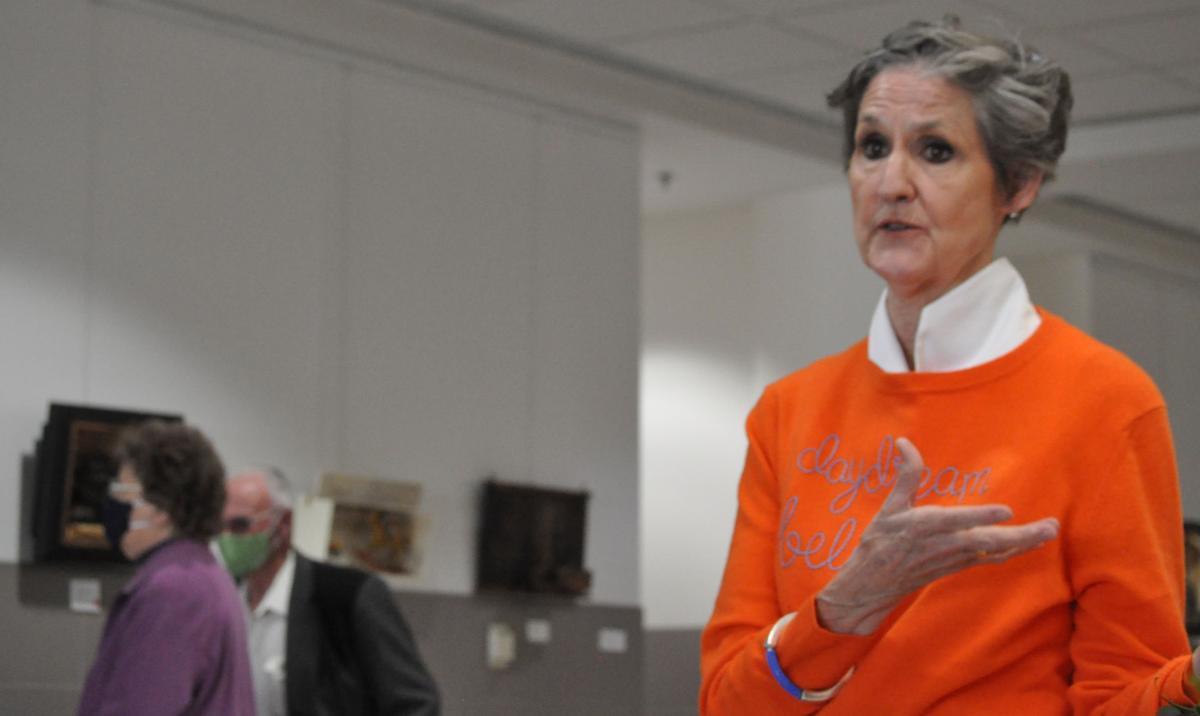 Liz Shea-McCoy addresses the First Friday crowd
