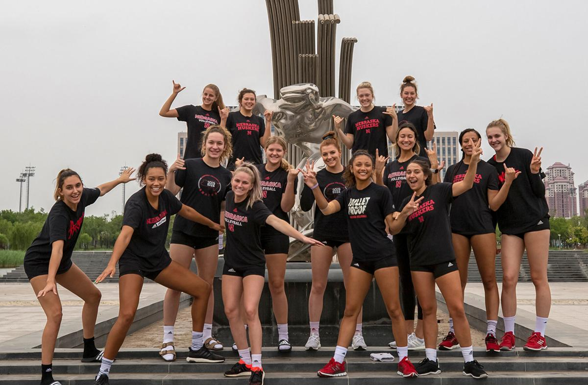 Nebraska volleyball team in China
