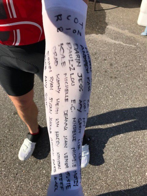 Names of donors on a sun sleeve worn by Mark Feit during the ride