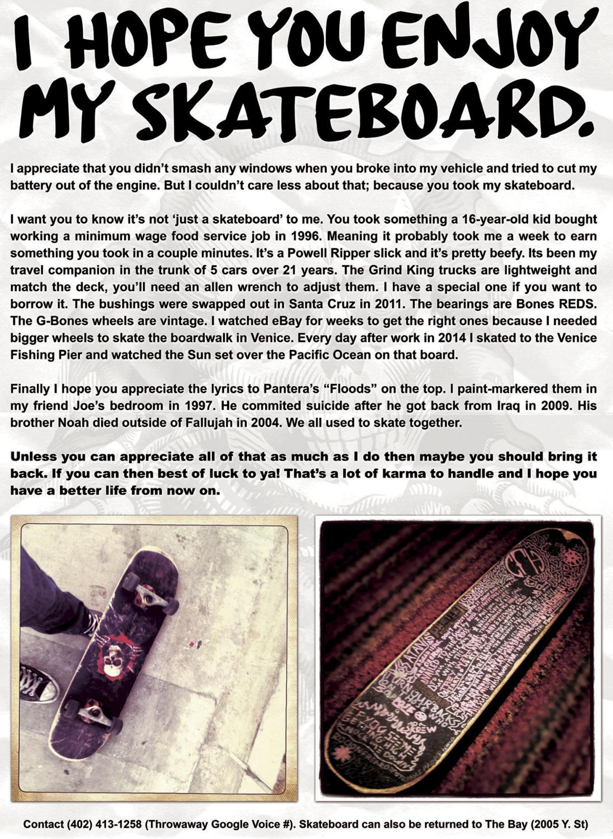 Lincoln man loses skateboard, writes letter to thief