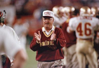 Former Florida State head coach Bobby Bowden tries to get his team going en  route to victory against Nebraska in the 1994 Orange Bowl. Bowden s son 1f7661d0b