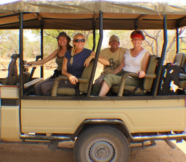 Author's family in Safari Vehicle at Chobe National Park, Botswana