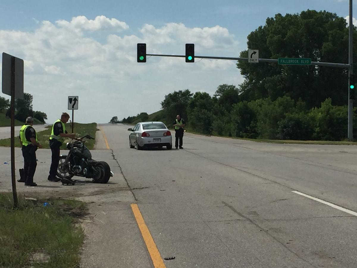 Car/Motorcycle crash at Fallbrook and Highway 34