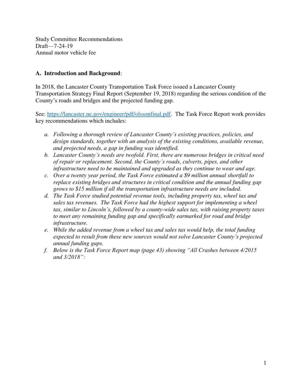 Draft of study on Lancaster County wheel tax