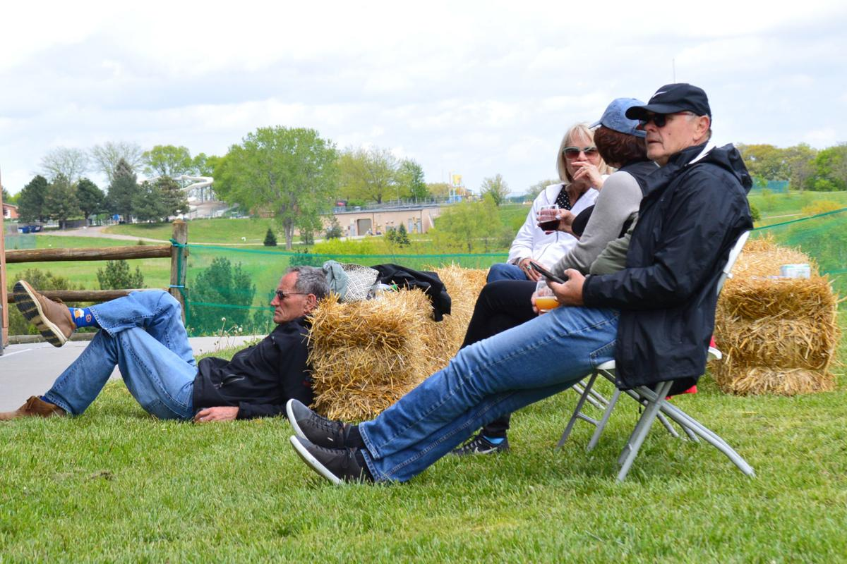 Relaxing by hay bales