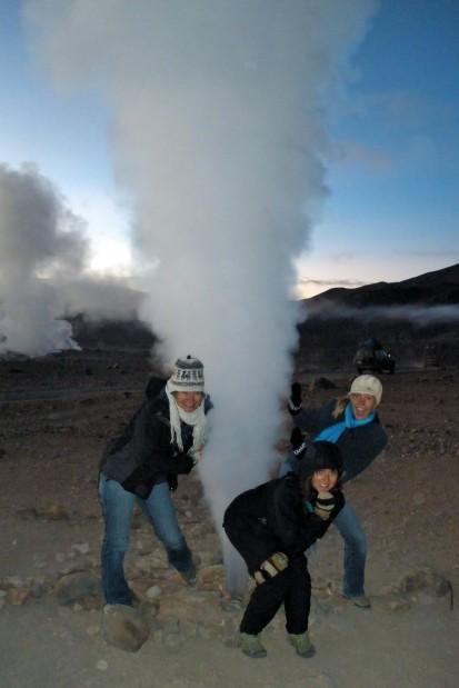 Warming up near a geyser