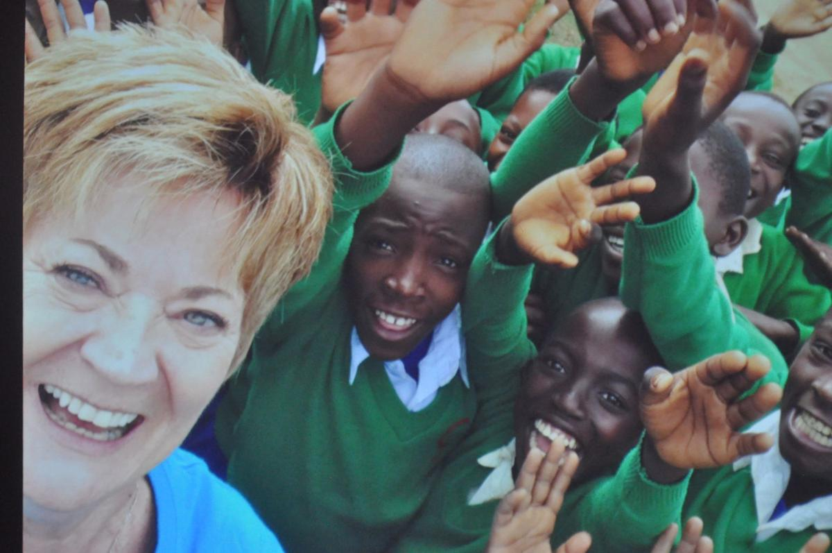 Jane Erickson with Tanzanian kids