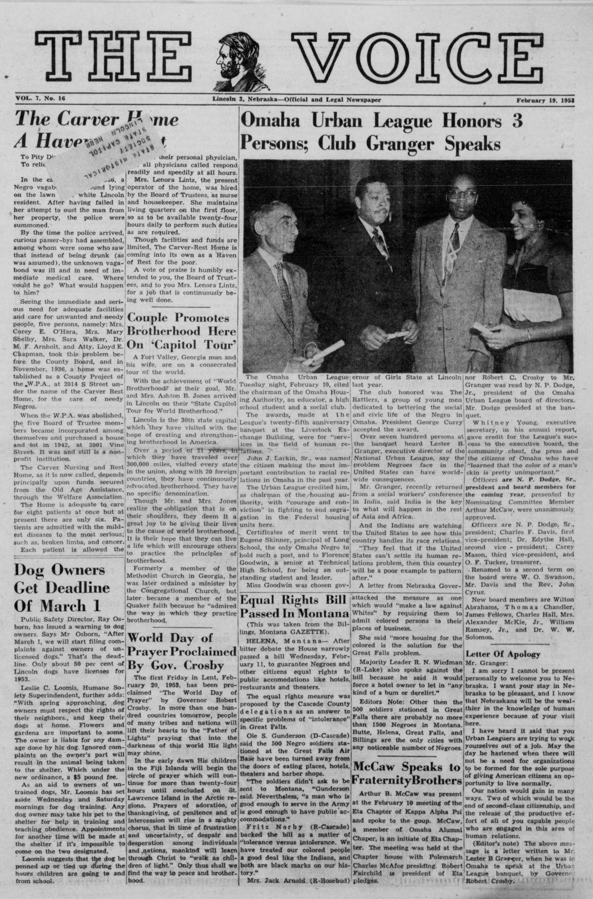 The voice. (Lincoln, Nebraska). 1953-02-19 [p ].