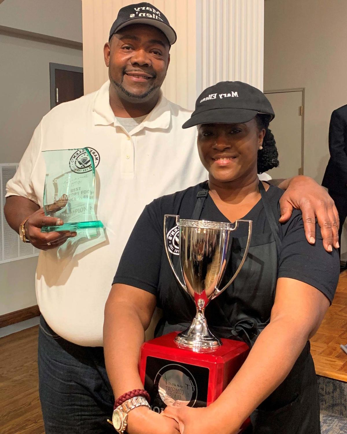 Charles Phillips and wife Lasunya with winning chef award